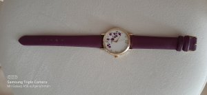 Quartz Zegarek ze skórzanym paskiem fiolet