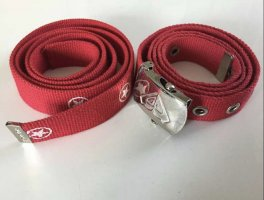 Quicksilver Cinturón de tela rojo-color plata