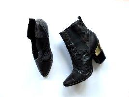 Rachel Zoe Pistol Boots Gr. US 10 40 40.5 schwarz Gold Schlangenprint Leder