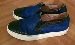 Rachel Zoe Slipper Schuhe 37 blau schwarz Fell