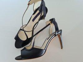 RALPH LAUREN Collection Sandaletten, Stilettos, Pfennigabsatz, blau, Gr.37, Leder