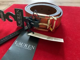Lauren by Ralph Lauren Double Belt neon orange-brown leather
