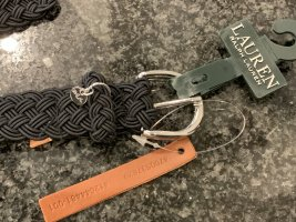 Lauren by Ralph Lauren Cintura intrecciata nero-grigio chiaro