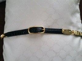 Lauren by Ralph Lauren Cinturón de cuero negro-color oro