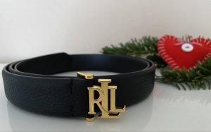 RALPH LAUREN Leder Gürtel Gr.XL in Schwarz-Gold, NEU!