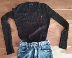 Ralph Lauren Pull tricoté noir-rouge foncé