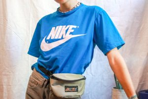 rare 90s nike shirt print blue swoosh true vintage red tag Before 2000sy2k tshirt