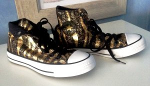Converse High top sneaker zwart-goud Linnen