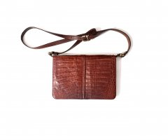Rarität Vintage 70er The Bridge Kroko Crossbody Flap Echtleder Tasche chic edel