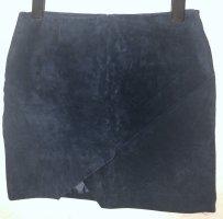 Mango Leather Skirt dark blue