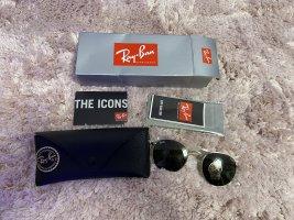 Ray Ban Owalne okulary przeciwsłoneczne złoto-czarny Szkło