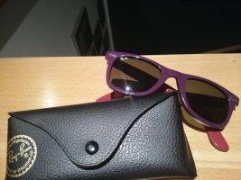 Ray Ban Lunettes de soleil angulaires rouge fluo-gris violet