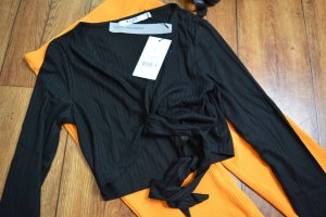 Recycled Front Knot Rib Cropped Shirt schwarz 36 Nakd