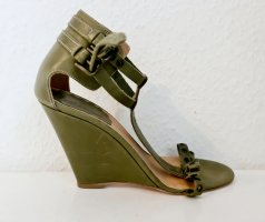 RED Valentino Wedge Pumps olive green-khaki leather