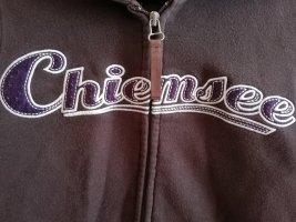 Reduziert Chiemsee Sweat Jacke, braun mit Schriftzug lila, Größe M