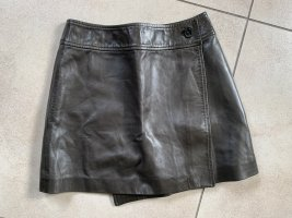 Leather Skirt dark green leather