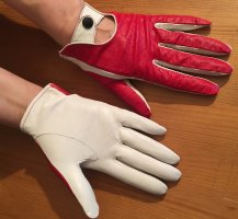 Leather Gloves red-white leather