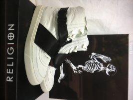 Religion Basket velcro blanc-noir cuir