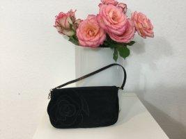 RENÈ LEZARD Clutch schwarz Velourleder mit Blume neuw.