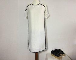 RENÉ LEZARD Kleid Gr. 34 weiß Leinen Viskose mit Netz Edel Chic locker fallend