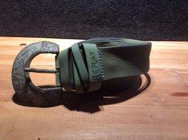 Replay Cintura di pelle verde chiaro