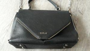 Replay Handtasche schwarz Leder Kunstleder Umhänge- Schulter- Crossbody- Tasche mit Reißvershlüssen