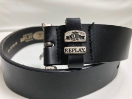 Replay Leather Belt black leather