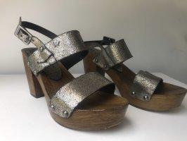 Replay Sandales à talons hauts et plateforme brun-argenté