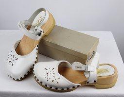 Retro Holz Cloggs Esprit Größe 38 Weiß Natur Beige Hippie Look Sandalen Nieten Leder Slingback Pumps Sommerschuhe