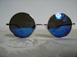 Retro Sonnenbrille Rund Hippie Lennon Woodstock Vintage Unisex Blau Verspiegelt