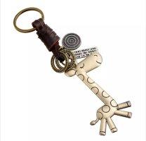 retrolook Schlüssel-/Taschenanhänger Giraffe Leder, Metall NEU messingfarben!
