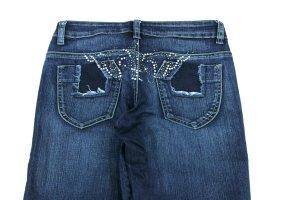 REVERS Slim Jeans Straß Denim dunkelblau Five Pocket Gr. 36