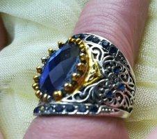 Bague en argent argenté-bleu