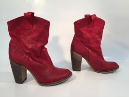 Riccardo Cartillone Designer-Stiefeletten Gr.37 rotes Leder