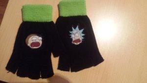 Rick and Morty Original Guantes sin dedos negro-verde neón