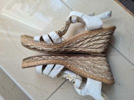 Rieker Keilabsatz Plateau offene Sandalen hohe Schuhe Sommerschuhe in weiß Gr. 37