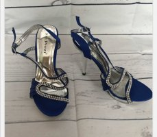 Escarpins à lanière argenté-bleu