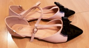 Ballerina di pelle verniciata rosa pallido-nero