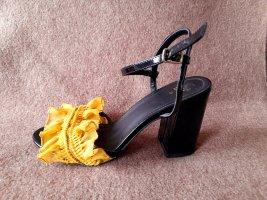Riemchenpumps Sandalen Blockabsatz Gr 39 H&M Handarbeit mit Rüschen