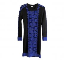 Kenzo Gebreide jurk zwart-blauw