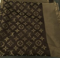 Louis Vuitton Silk Scarf gold-colored-dark brown
