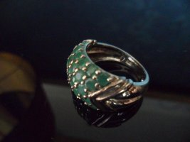 Silver Ring forest green-silver-colored mixture fibre