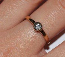 Ring aus Rotgold mit Diamant, Altschliff