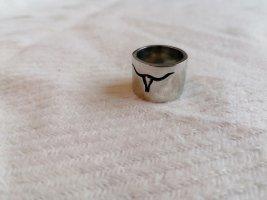 Anello di fidanzamento nero-argento Metallo