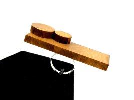 Pierścionek z ozdobnym kamieniem brązowy Drewno