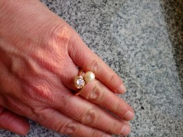 Silver Ring gold-colored-natural white