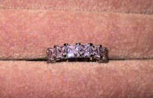 echt Silber 925 Srebrny pierścionek srebrny-różowy