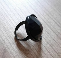Ring schwarz oval Modeschmuck Neu
