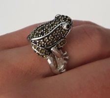 Ring Sterlingsilber Frosch verspielt Froschkönig Glamour funkelnd neu