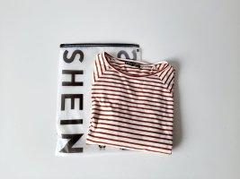 SheIn Camisa de rayas blanco-coñac